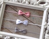 Pink White and Grey Itty Bitty Bows Headband 3 Pack for Newborn Photo Prop Infant Toddler Girl Baby Shower Gift