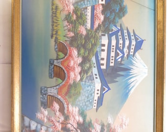 Sale///Vintage 1950's Souvenir Japanese Asian Silk Painting Mt Fuji With Cherry Blossoms And Castle