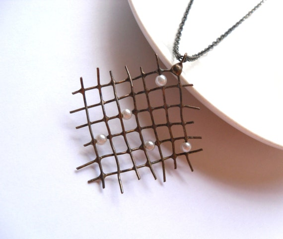 Copper wire pendant, contemporary wire jewelry, white beads, funky pendant, artistic necklace, Pearler