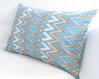 Chair Pillows, Blue Orange Pillows, Chevron Lumbars, Decorative Pillows, Chevron Pillow Cover,Blue Orange Accent Pillows,Cotton Pillows