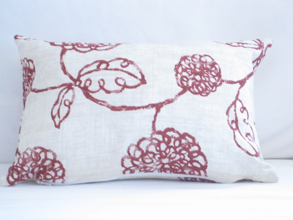 Burgundy Floral Decorative Lumbar Pillow Cover By
