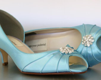 Blue Wedding Shoes -- Pool Blue Kitten Heels with Simple Rhinestone Adornment