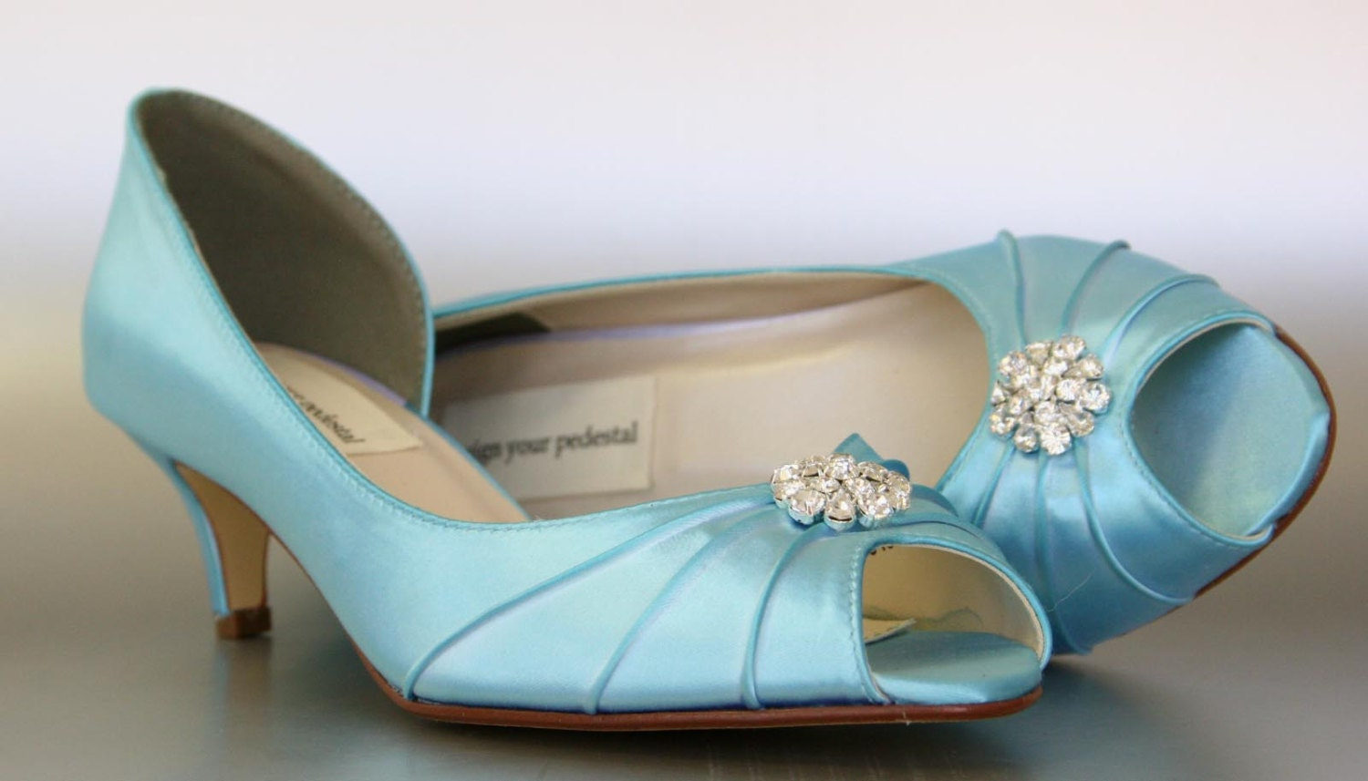 Teal Kitten Heel Shoes