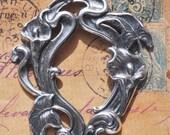 Art Nouveau brass frame, Sterling Silver Ox, scrapbooking, jewelry making