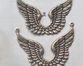Angel Wings Necklace Bases with Three Holes, Brass Ox, TWO