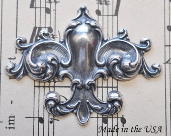 Fleur de Lys Brass Stamping with Swirls,  Sterling Silver Ox Finish