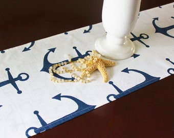 Anchor Table Runner, Nautical Table Cloth Wedding Runner, Buffet Runner Anchors Navy and White Nautical Decor