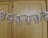 Showcase Item, OOAK Handmade Mixed Media Spring, Easter, Nursery Banner, Cottage Chic, Country Cottage Decor, ECS, FREE Shipping