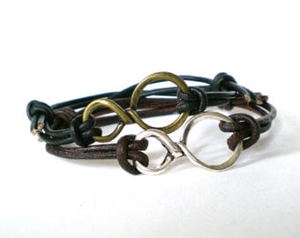 leather infinity bracelet, friendship bracelet, love symbol bracelet, rocker cuff, teen cuff, adjustable leather cuff, festival bracelets
