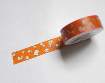 Tape-Washi Tape-Masking Tape-Single Roll- Happy Zoo Orange Giraffe Elephant bird rabbit