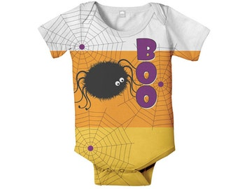 Halloween Baby Bodysuit, Personalized Cany Corn Spider One-Piece Costume