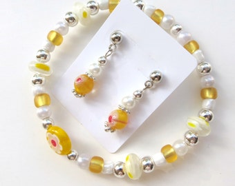 CHEERFUL SUNSHINE- Beaded Stretch Bracelet and Earrings Set- Millefiore Beads, Silver Spacers, and Post Style Earrings
