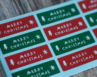 Merry Christmas Stickers - Red and Green Christmas Stickers - 4.5cm x 1.5cm Rectangle Sticker Seals - 60 seals