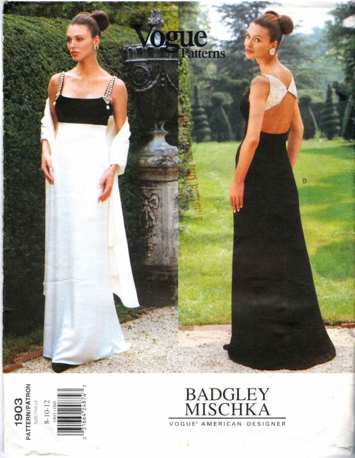 1990s Badgley Mischka evening dress pattern, Empire or open back, with stole - Vogue 1903