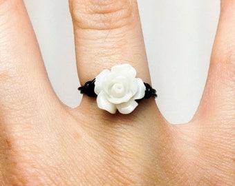 White Rose Ring - Wire Wrapped Unique Gothic Ring - Made to Order