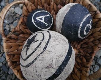 Ball Bowl Fillers Ornies Tucks Black & White Paper Mache Primitive Handmade Country Shelf Setter Home Decor Accessories Primitive Rustic