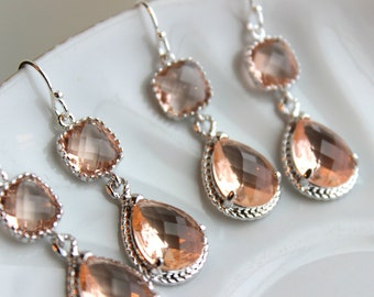READY TO SHIP 15% Off Set of 5 Wedding Jewelry Bridesmaid Earrings Bridal Bridesmaid Two Tier Champagne Blush Earrings Peach Silver Teardrop