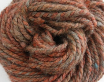 "Bulky Handspun Yarn ""Dirt Road Sunset"" Romney Wool"