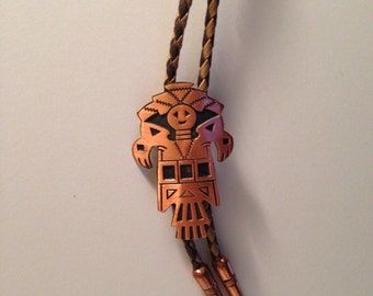 Kachina Bolo Tie Solid Copper Bell Trading Post