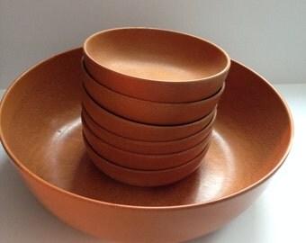 Ellingers Salad Set Agatized Wood Salad Bowl 6 serving bowls Fork and spoon