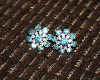Vintage Earrings Coro Blue Flower 1950s