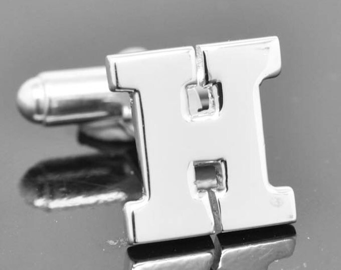Initial H, Personalized cufflinks, Initial cufflinks, mens accessories, mens cufflinks, groomsmen gift, Gift for Father, Wedding day gift