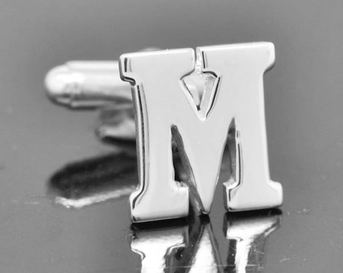 Initial M, Personalized cufflinks, Initial cufflinks, mens accessories, mens cufflinks, groomsmen gift, Gift for Father, Wedding day gift