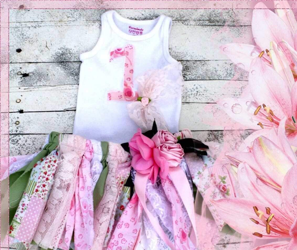 Shabby chic birthday outfit fabric tutu and applique shirt - Shabby chic outfit ideas ...