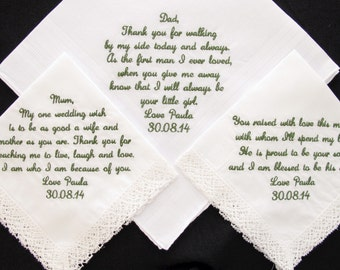 Embroidered Wedding Handkerchiefs for the Mother of the Bride, Father of the Bride and Mother of the Groom
