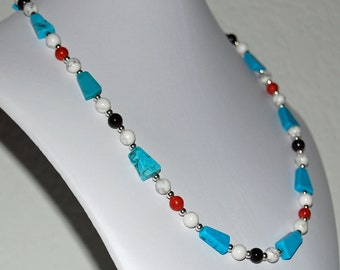 Turquoise, Coral, Onyx  and White Howlite Rustic Southwest Necklace, Statement Necklace, December Birthstone, February Birthstone