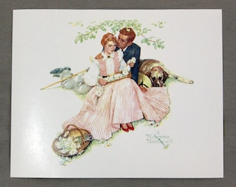 Vintage 1970's Norman Rockwell Flowers in Tender Bloom Four Seasons Series Print 1