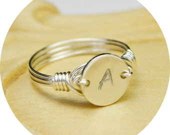 Any Initial Small Monogram Ring- Hand Stamped Sterling Silver Filled Ring- Any Size- Size 4, 5, 6, 7, 8, 9, 10, 11, 12, 13, 14
