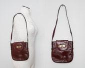 Burgundy Etienne Aigner Leather Purse / Vintage 1970s Boho Bag