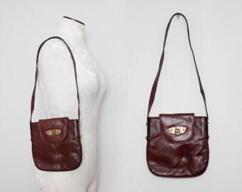 Etienne Aigner Purse. 70s Boho Bag. Burgundy Leather Bag. Vintage Shoulder Bag. Oxblood Leather Bag. Small Leather Bag. Unique Leather Bag.