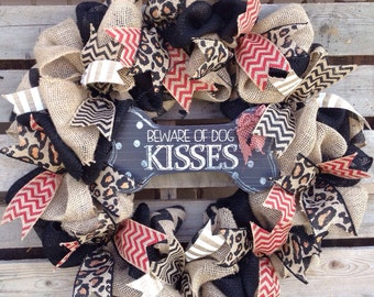 Dog Wreath, Animal Print Wreath, Burlap Wreath, Door Hanger, Housewarming Gift, Rustic Home Decor, Animal Lover Wreath, Dog Lover Decor