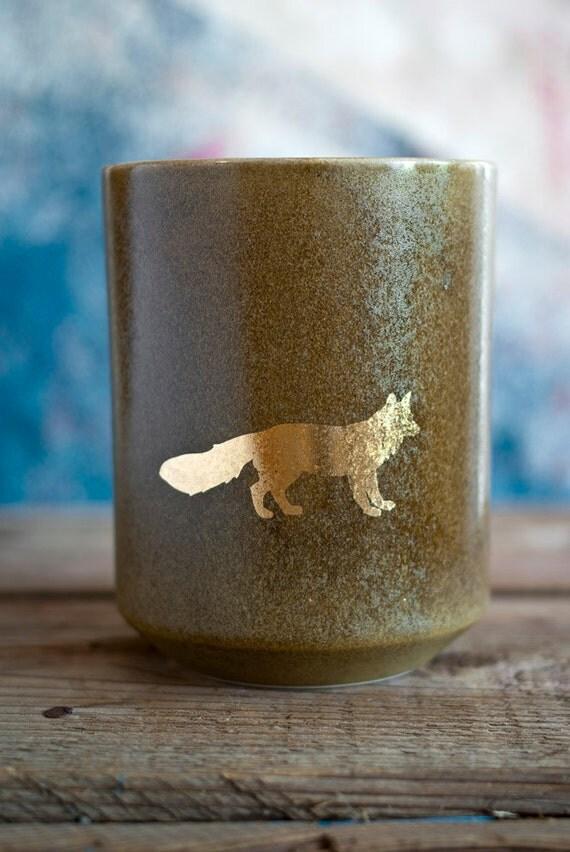 Golden Fox Tumbler - bright gold lustre decorated ceramic vessel - beer cup