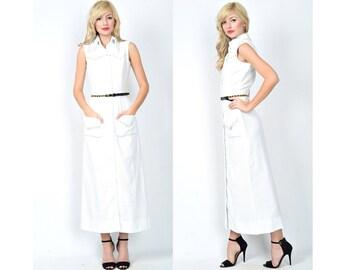 Vintage 70s 80s White Maxi Dress Studded Boho Retro Small S 0954