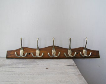 Rustic 70s Wooden Rack, 5 Hook Rack, Entrance Hall Wall Rack, Kitchenware, Reclaimed Wall hanger Hooks, Dark brown Wall Rack, Man Cave Gift