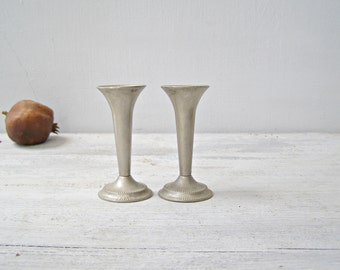 Art Deco Small Candlesticks, Mid century Modern Minimalist Wedding Tableware, Silver Plated England Silverware Vintage Candle Stick Holders