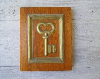 Rustic Antique key wood wall art, Wooden and Brass art block, salvage wooden art, Shabby cottage chic, Framed key folk art Wood picture