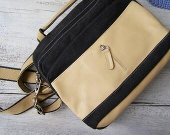 90s David Jones urban shoulder Bag, Crossbody small black denim & Beige Handbag, Hipster woman Purse, casual fashion accessories, trendy bag
