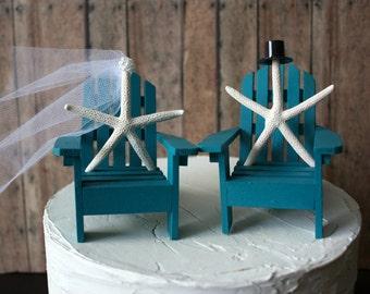 Mr. and Mrs. Adirondack chairs-wedding cake topper-beach wedding-destination wedding