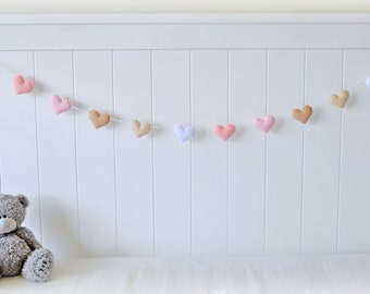 Felt hearts banner- garland - bunting - pink, beige and white - nursery decor - MADE TO ORDER