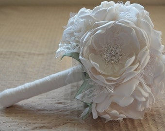 Fabric Bouquet - Small Size - Cream and Sage Green - Heirloom Bouquet, Bridal Bouquet, Fabric Bouquet, Fabric Flowers, Alternative Bouquet