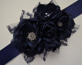 Bridal Sash - Five Flowers - Navy Blue - Vintage Style Sash, Bridesmaid Sash, Fabric Flower Sash, Bridal Sash, Navy Sash, Solid Navy Flower