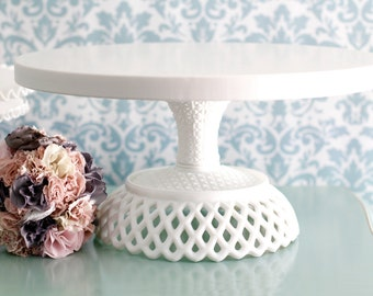 """18"""" Wedding Cake Stand - Victorian Inspired Pedestal / Wedding Cupcake Stand / Vintage Cake Stand for White Lace Weddings"""