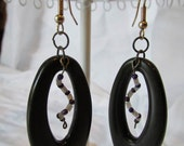 75% off CLEARANCE black hoop with swirl wire earrings