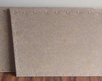 Custom Corkboard PinBoard Pin Message Cork Board 23x35 Slate Gray / Grey & Brown Tan Chenille Damask Jacobean Thick Fabric Choice NailHeads