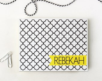 Custom Stationary Black and White Quatrefoil Moroccan Trellis Personalized Stationery Yellow Thank You Notes Bridesmaids Gift - Set of 10