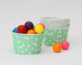 Mint Green Polka Dot Baking Cups Seafoam Mini Muffin Cups Small Ice Cream Cups Mint Turquoise Party Supplies Kids Birthday Party / Set of 10